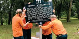 Apopka Historical Society public dedication ceremony for the Apopka schoolhouse Florida state historical marker